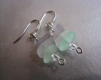 Pastel Stacked Sea Glass Earrings - Amethyst, White, Seafoam Sea Glass Dangle Earrings