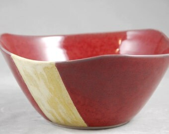 Large Serving Bowl Triangular Shape in Red with Yellow Accent Centerpiece Bowl