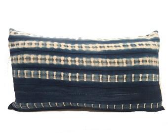 Vintage African Indigo Mudcloth Lumbar Pillow| CARLY