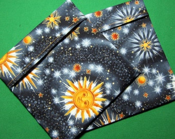 Lined Sandwich Bag--Stars Moons Suns on Gray