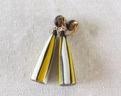 1960s Vintage Mod Drop Dangle Yellow White Black Earrings Clip On Style