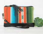 medium recycled black leather navajo clutch, wristlet, tassel, phone wallet, make up bag, handmade, upcycled, repurposed, stacylynnc