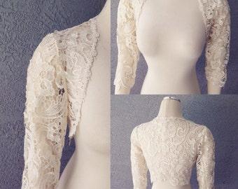 Beautiful Wedding Bridal Ivory Giupure Lace 3/4 Sleeve Bolero Shrug Jacket SIZE M