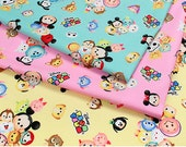 Disney Tsum Tsum fabric set of 3 colors  9.6 by 19.6 inches or 25 by 50 cm each piece