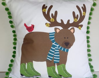 15% OFF SALE - DIY Pillow Panel - Holiday Bear