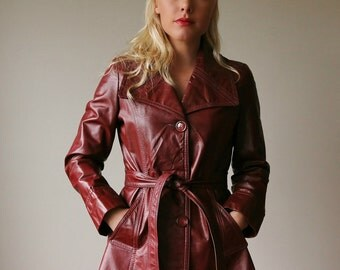 1970s Burgundy Leather Trench~Size Small