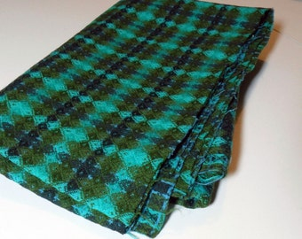 "VINTAGE Turquoise & Olive Green Woven Fabric. 2 pieces at 33"" x 54""wide."