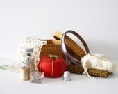 Sewing Junk Drawer Instant Collection Vintage Sewing Items Pin Cushion Basket