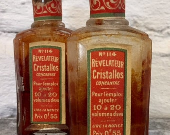 Vintage French Glass Pharmacy Apothecary Vial Bottle Cristallos Photo Developer
