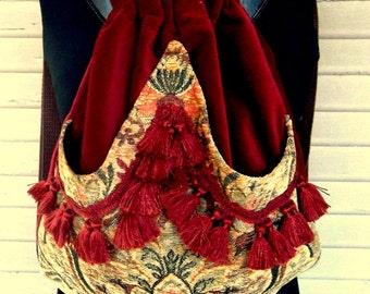Fringed Brick Red Backpack Tapesry Backpack Renaissance Sling Bag