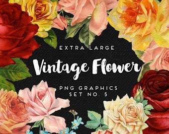 INSTANT DOWNLOAD - Rose Garden Vintage Graphics Collection, Print, Web, Scrapbook, Design, Commercial Use OK!