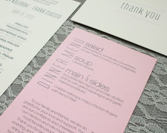 Ballet Pink Modern Wedding Dinner Menu and Thank You Note - Amy and Frank