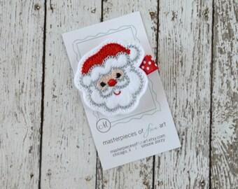 Cute Santa Felt Hair Clip - Christmas Winter Holiday Hair Bows - Santa Claus Hair Accessory for Girls - Christmas Hair Clippie Non Slip Grip