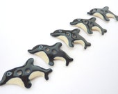 Leaping Dolphin / Orca Buttons - handmade/fairtrade ceramic buttons