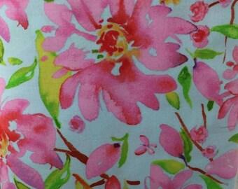 Summer Pink Blue Flowers  Window Curtain Cotton Valance