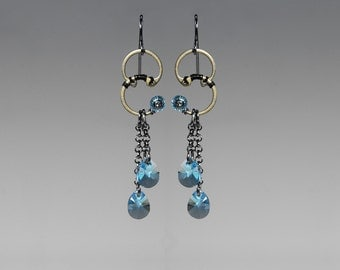 Swarovski Crystal Earrings, Aquamarine Crystal, Industrial Jewelry, Elegant Jewelry, Wire Wrapped, Youniquely Chic, Setebos II v4