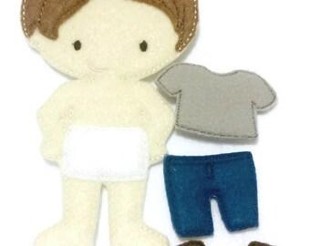 Boy non paper doll  with outfit - felt paper doll - Quiet Game, felt gamel, travel toy, Birthday Favor, Felt Favor, Children's Toy #1510