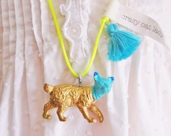 Cat Necklace in Gold with Tassel Crazy Cat Lady Necklace Cat Jewelry Kitty Necklace Kitty jewelry by The Trendy Tot