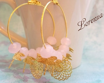 Opalin pink gold leaves earrings