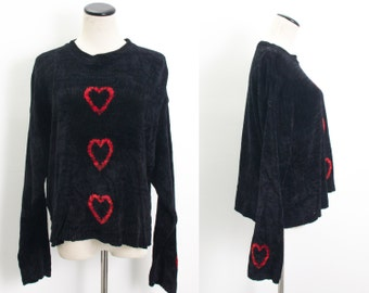 VTG 80's Heart Breaker Slouchy Sweater (Medium / Large) Oversized Black Chenille Knit Long Sleeves Goth Red Hearts