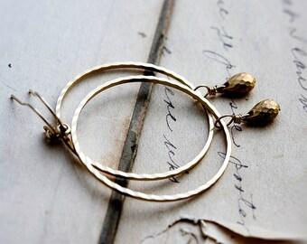Gold Hoop Earrings, Hoop Earrings, Gold Earrings, Gold Drop, Textured Hoop, Large Hoop, 14K gold filled, PoleStar, Circle