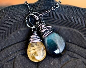 Labradorite Necklace, Rutilated Necklace, Rutilated Quartz, Sterling Silver, Wire Wrapped, Gemstone Pendant, Gemstone Necklace, PoleStar