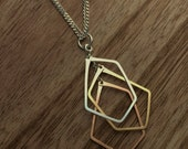 Mixed Metal Multi Pentagon Necklace- N375SGR-S- sterling silver, rose gold fill, gold fill - handmade wire jewelry by cristysjewelry on etsy