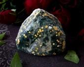 Ocean Jasper Palm Stone - Ocean Jasper Triangle - Green Yellow White Orbs - Shaman Stone - Ocean Jasper Specimen - Ocean Jasper Crystal