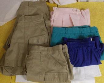 Vintage lot mens shorter shorts L L Bean Cricketeer Sportif khaki blue pink zipper fly
