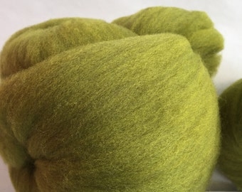 2 Batts from 100 percent CVM Romeldale 3.5oz bright green ready for spinning.