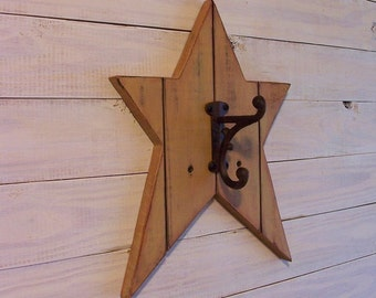 Primitive Farmhouse Star Bath Towel Holder with Rustic Hook Farmhouse Tan Color and Finish Choice Bathroom or Kitchen