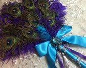 Ready To Ship!  Fancy Peacock and Ostrich Feather wand in Purple and Turquoise