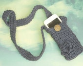 Crochet Phone Case with Strap, Cotton Phone Case, Choose Color, Flower Custom Phone Carrying Case, Stocking Stuffer,