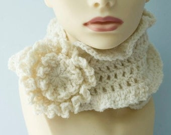 Hand Crochet Ruffle Scarf with Flower Scarf Pin, Custom Chose Color,  Wool Winter Scarf, Women's Scarf