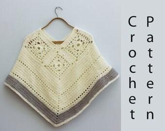 Poncho Crochet Pattern, Instant Download Pattern, Crochet Poncho PDF Pattern,  Crochet Wrap Pattern