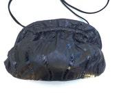 SALE..Patchwork Leather Clutch Bag / Cross Body Optional / Black Leather Applique / Vintage 1980s Purse /  80s Handbag  / Retro Style Bag