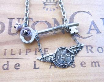 Vintage Skeleton Key with Pilot Badge Necklace