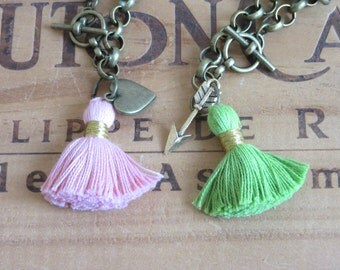 Tassel Bracelet - choose your color and charm! Arrow or heart