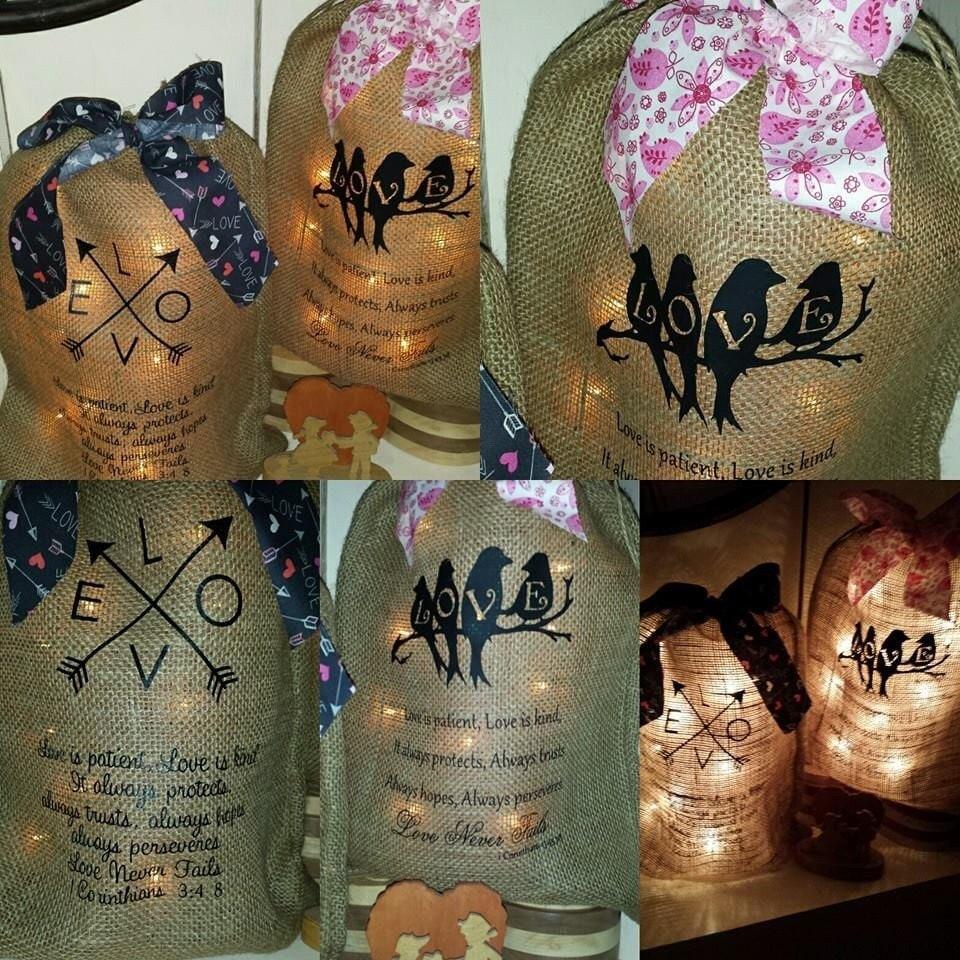 Lovebirds burlap print burlap bag with lights by for Burlap lights