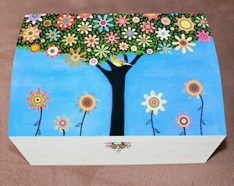 Bird Tree Large Jewelry Box, Trinket Box Wooden Box