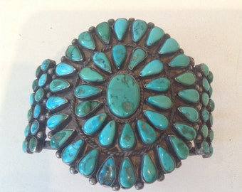 Vintage 1950s Navajo Sterling Silver Turquoise Cuff Bracelet Sunburst Pattern 925