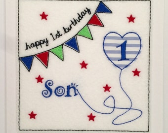 Bunting Birthday Card (Son) - Embroidered