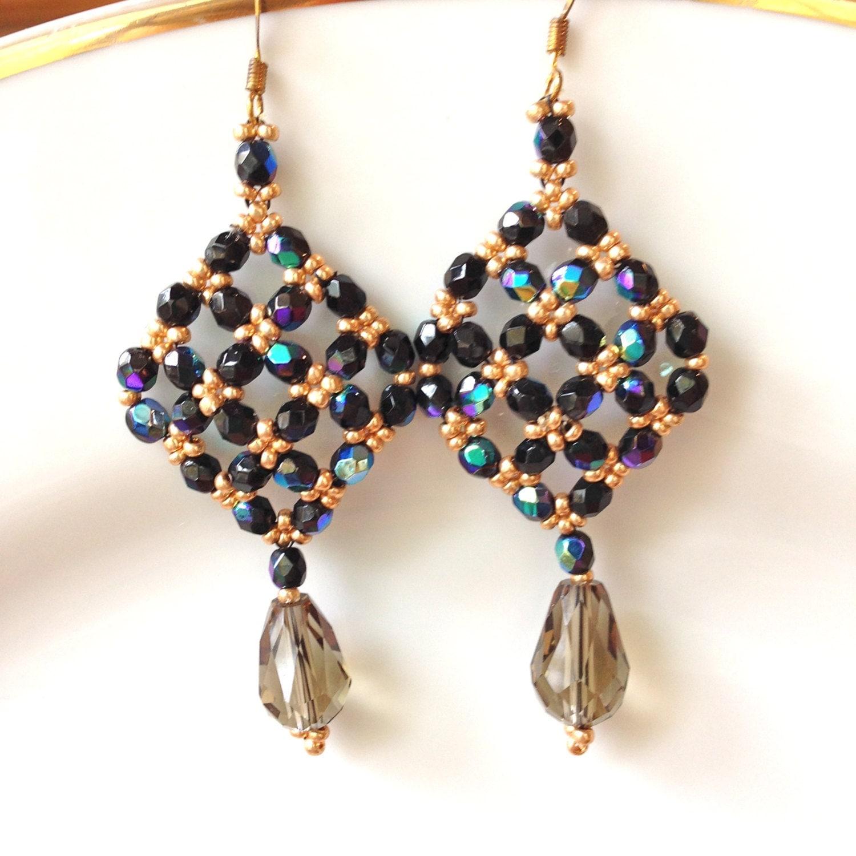 handmade beaded earrings drop dangle earrings black