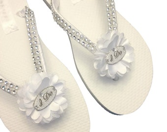 Bridal Flip Flops - Wedding White Flip Flops - I Do Flip Flops - Wedding Sandals - Bride Flip Flops - Beach Wedding - 25 Flowers Colors