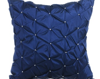 Navy Blue Pillow Cases 16x16 Couch Pillows Embroidered Taffeta Pillow Cover - Night Texture