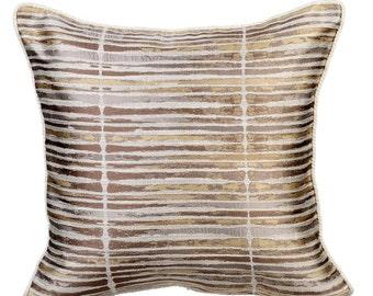 gold stripe decorative throw pillow cover couch pillows sofa pillow bed pillow toss pillow 16 x