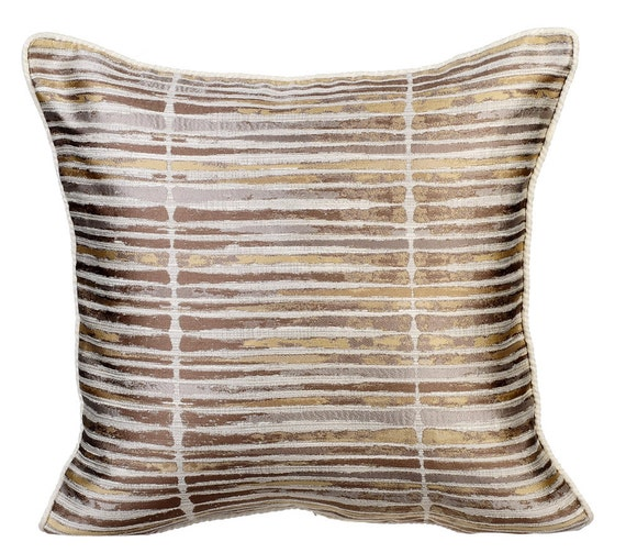 Gold Stripe Decorative Pillow : Gold Stripe Decorative Throw Pillow Cover Couch Pillows Sofa