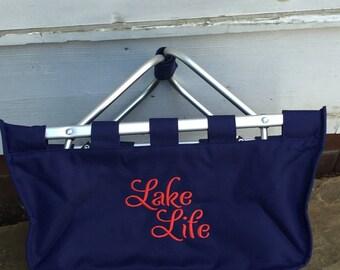 Navy Market Tote-Monogrammed Market Tote-Market Basket-Easter Basket-Organizer