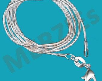 """MERZIEs silver-plated 16"""" round 1mm SNAKE chain lobster clasp pendant necklace - SHIPs from USA - Combined Shipping"""