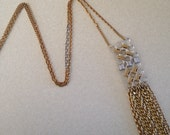 Fringe necklace. Silver and gold necklace.